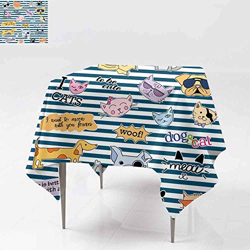 AFGG Square Table Cloth,Fashion Patch Badges Cats and Dogs Set Stickers pins p,Resistant/Spill-Proof/Waterproof Table Cover 50x50 Inch atches -