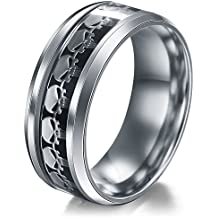 Men Women The Punisher Skull Stainless Steel Titanium Wedding Band Ring Size6-13#by pimchanok shop (11, Black Silver)