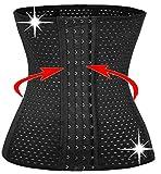 KissFit 6 Pcs Steel Boned Waist Trainer Hot Cincher Promotes Tummy Control Body Shaper for Hourglass (XS, BLACK)