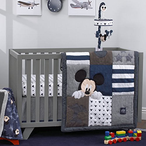 Disney Mickey Mouse 4 Piece Hello World Denim/Star/Icon Nursery Crib Bedding Set, Navy, Grey, White ()
