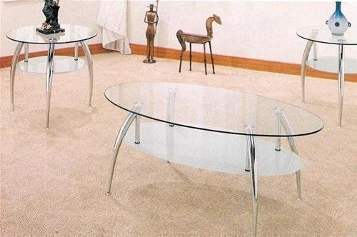 Amazon.com: Beautiful 3 Pc Chrome And Glass Coffee Table Set: Kitchen &  Dining - Amazon.com: Beautiful 3 Pc Chrome And Glass Coffee Table Set