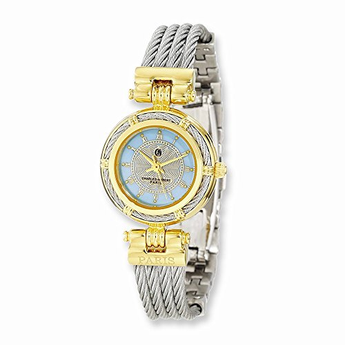 Charles-Hubert, Paris Women's 6779-T Premium Collection Two-Tone Brass Case with Stainless Steel Wire Bangle Watch
