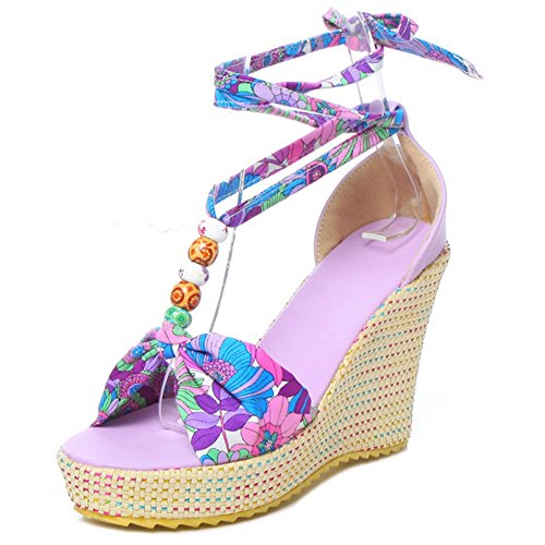 COOLCEPT Mujer Bohemia Cordones Sandalias Tacon Alto de Cuna Punta Abierta Zapatos Tamano Purpura