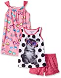 Komar Kids Big Girls 3 Piece Sleepwear Set Cat Short Set with Sunglass Print Gown, Pink, X-Small