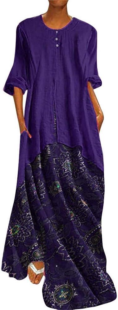 Damas Vestido De Vestir La Camisa De Flores De Época Vestidos De Verano Ocasionales De Impresión De Fiesta Vestido De La Blusa Longitud del Vestido Vestidos Sueltos Botón De Cuello Redondo De