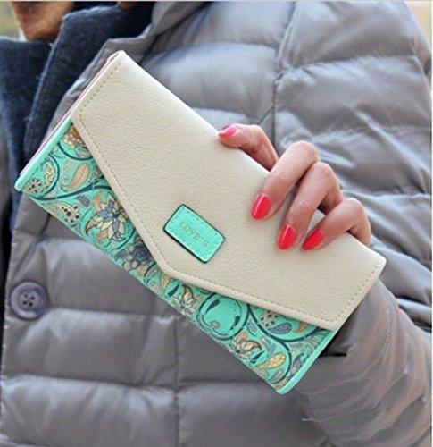 Long Clutch Phone Famous Designer Lady Female Wallet Women Luxury Brand Purse Carteras Portomonee Walet Money Bag Cuzdan Vallet (Green)