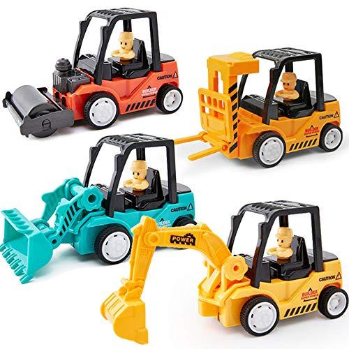 Xyanzi Niños Pequeños Juego De 4 Carros De Construcción De Camiones De Mini Construcción Mecánica, Juguetes De...