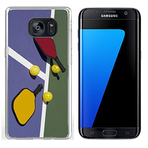 Luxlady Samsung Galaxy S7 Edge Clear case Soft TPU Rubber Silicone IMAGE ID 25179426 Pickleball Colorful Paddles Ball and Court ()