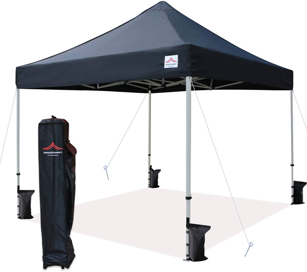 UNIQUECANOPY 10'x10' Ez Pop Up Canopy Tent Commercial Instant Shelter with Heavy Duty Roller Bag, 4 Canopy Sand Bags, 10x10 FT Black