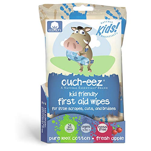 Boo Bandage (Natural Essentials - Ouch-eez, Kid Friendly First Aid 100% Cotton Wipes, 32-Count, Fresh Apple Scent For Little Scrapes, Cuts and Bruises, Ages 3 Months & Up)