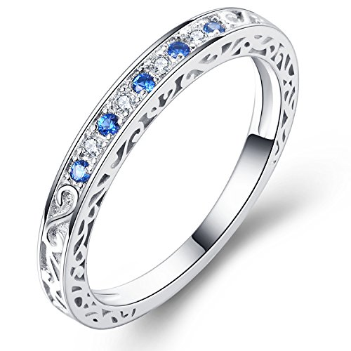 Vibrille Sterling Silver Antique Scroll Created Blue Sapphire and CZ Eternity Wedding Band Ring for Women Size 9 (Created Antique Style Ring)