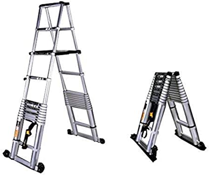 Escalera telescópica, Las escaleras de aleación de aluminio telescópica Fold espiga General Perfil del hogar al aire libre de Ingeniería (Color : 2+ 2m): Amazon.es: Bricolaje y herramientas