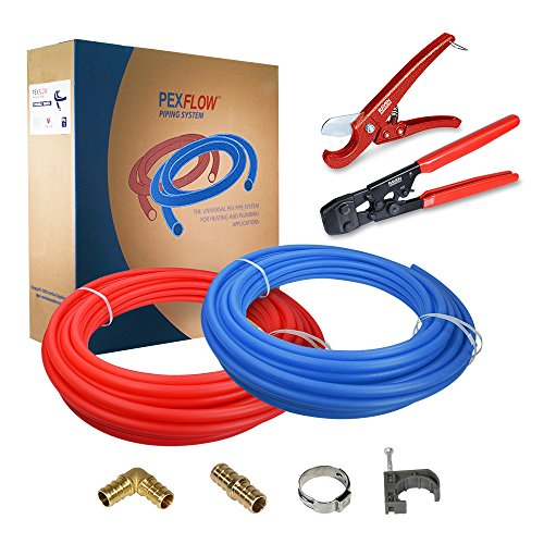 Pexflow PXKT30012 Pex Starter Kit - Crimper & Cutter Tools, 1/2-In Brass Elbow & Coupling Fittings, 1/2-In Stainless Steel Cinch Clamp, 1/2-In Half Clamp, 1/2-In X 300ft PEX Tubing (1 Red + 1 Blue) by PEXFLOW