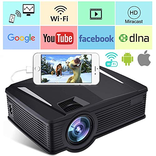 Wireless WiFi Projector,Weton 2500 Lumen Video Projector 1080P HD Portable Mini Movie Projector for Outdoor Home, WiFi Directly Connect for Smartphones, 50,000 Hours Lamp Life,Support HDMI USB VGA SD