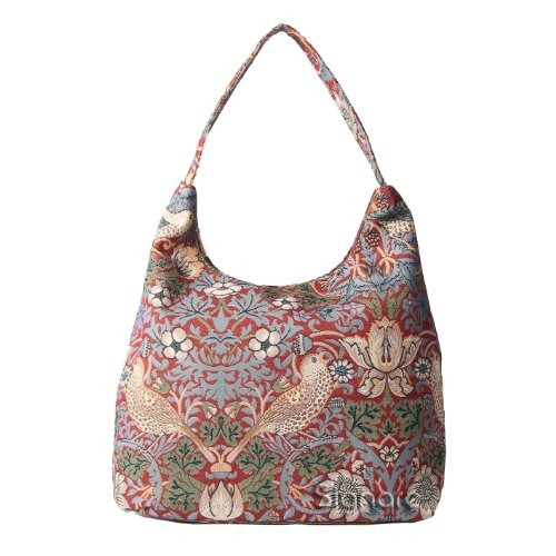 (Signare Womens Tapestry Fashion Shoulder Bag/ Hobo Bag in William Morris Strawberry Thief Red)