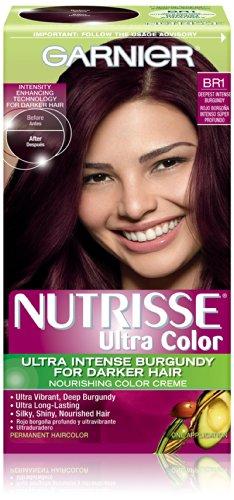 Garnier Nutrisse Couleur des cheveux couleur ultra nourrissant couleur crème, Br1 plus profond Bourgogne Intense