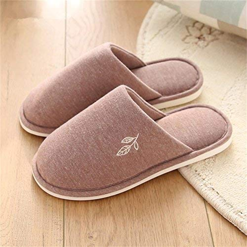 1 JaHGDU Ms. Home Slippers Indoor Thermal Non-Slip Cute Leaves Pattern Solid color Winter and Autumn Keep Warm Classic Basic Cotton Slippers