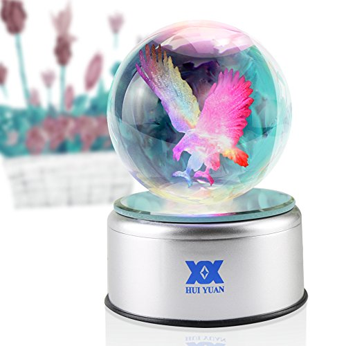 Eagle Gifts 3D Crystal Ball Bald Eagle Statue Figurines C...
