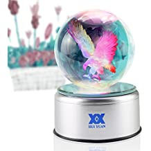 Eagle Gifts 3D Crystal Ball Bald Eagle Statue Figurines Collectibles LED table Lamp Night Light Clear Engraved 80mm Silver Rotating 7 Colors USB Scout Bird Phoenix for Boys Christmas