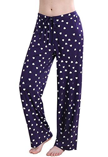 Vislivin Women's Stretch Knit Pajama Pants Modal Sleep Pant DB Love Wide XL