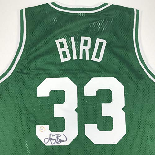 Autographed/Signed Larry Bird Boston Green Basketball Jersey Athlete Hologram COA