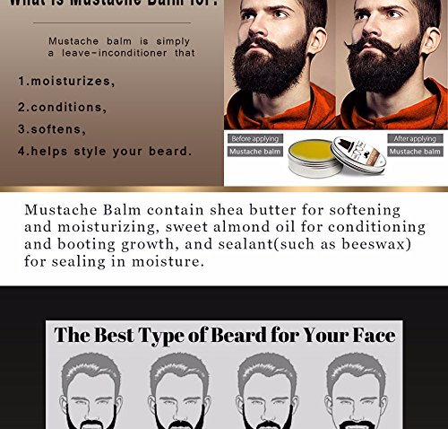 Gift Natural Beard Oil Conditioner Beard Balm For Beard Growth And Organic Moustache Wax For Beard Styling With Gift Bag (Pencil Up Nose Halloween)