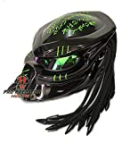 Custom Predator Motorcycle Dot Approved Helmet Shine Black T10