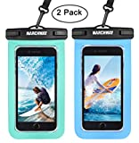 Universal Waterproof Case 2 Pack, MARCHWAY Cellphone Dry Bag Pouch with Touch Screen for Apple iPhone X/8/8 Plus/7/7 Plus/6S/6S Plus, Samsung Galaxy S8/S7, Any Phone Up to 7 Inch (Blue+Green)
