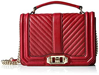 Rebecca Minkoff Chevron Quilted Small Love Crossbody W/ Top Handle, Deep Red