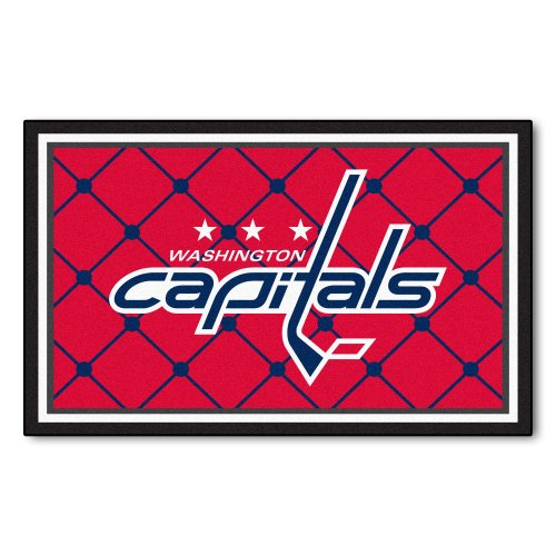FANMATS NHL Washington Capitals Nylon Face 4X6 Plush Rug (Washington Capitals Floor)
