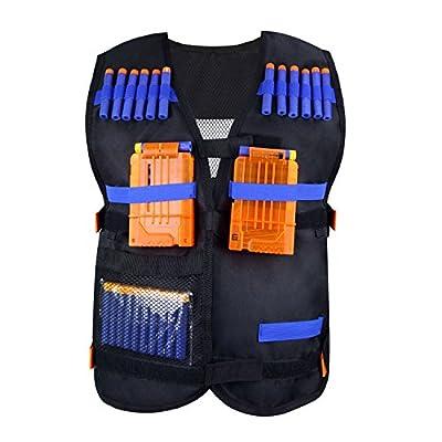 KINBON Kids Tactical Vest Kit, Adjustable Boys Nerf Vest for EVA Nerf N-Strike Elite Series Kids with 30 Pcs Foam Darts + 2Pcs 6-Dart Quick Reload Clip + 1Pcs Skull Mask+ 1Pcs 8-Dart Wrist Band