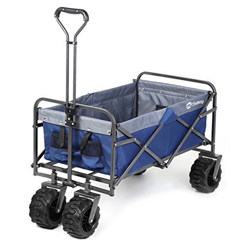 Sekey Folding Wagon Cart Collapsible Outdoor Utility Wagon Garden Shopping Cart Beach Wagon with All-Terrain Wheels, 265 Pound Capacity, Blue with - Delivery Wagon