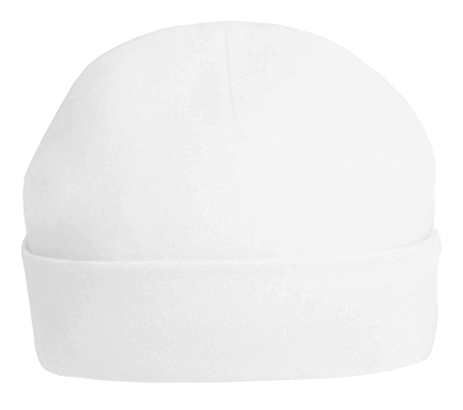 New 100% cotton White Baby Hat by Soft Touch - unisex baby available in newborn and 0-3 months