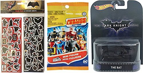 Batman V Superman Robin Costume (Hot Wheels Batman Retro Entertainment Bat & DC Comics Justice League Action Blind Bag Mini figure + Bonus Stickers)