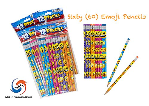 M & M Products Online Emoji Pencil Set: 60-Pack of Pencils Featuring Assorted Colors & Eraser Tops - 7.5 Inches for Long Lasting Writing - Great for Classrooms, School Supplies, and Party Favors -