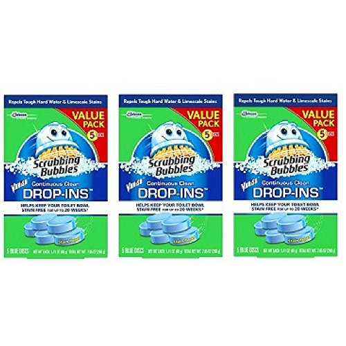 Vanish Bowl - Scrubbing Bubbles Toilet Cleaner Drop Ins, 5 Count, 7.1 Ounce, (Pack of 3)