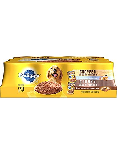 PEDIGREE Meaty Ground Dinner Variety Pack With Chicken & Bacon Canned Dog Food 13.2 oz. (Pack of 12)