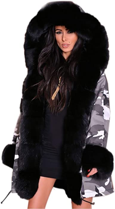 94dd36fdf42b Women Fashion Faux Fur Hooded Camouflage Military Loose Plus Size Winter  Coat Outdoor Parka Anoraks. Aox Women's Casual Off White Hoodie Parka Coat  (8, ...