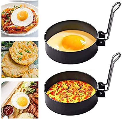 2 piezas de anillos de huevo frito, anillos de cocción antiadherentes con asas plegables, moldes de huevo de tortilla de acero inoxidable para ...