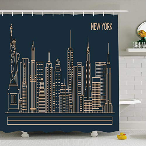 Ahawoso Shower Curtain 60x72 Inches Skyline NYC New York City Linear Dusk Line Liberty Freedom Statue Cityscape Design Historical Waterproof Polyester Fabric Set with Hooks]()