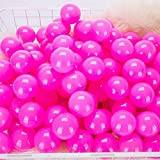 "momowu 2.75"" Phthalate Free Fun Crush Proof Balls Soft PE Air-Filled Ocean Ball Play Balls Pit Balls for Baby Kids Tunnel/Tent/Pool/Swim Jump House Rose Pink 100Pcs"