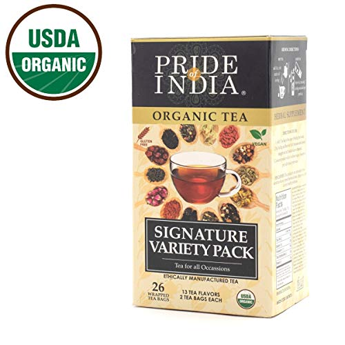 Pride Of India - Organic Signature Variety Tea Box - 26 Tea Bags - 13 Assorted Flavors - Amazing Gift & Great Value - Combo of Traditional, Herbal & Wellness Teas - Made for Home, Office & Restaurants