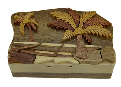 Zeckos Wood Decorative Boxes Tropical Palm Trees Hand Crafted Wooden Puzzle/Trinket Box 6.5 X 2.5 X 4 Inches Brown