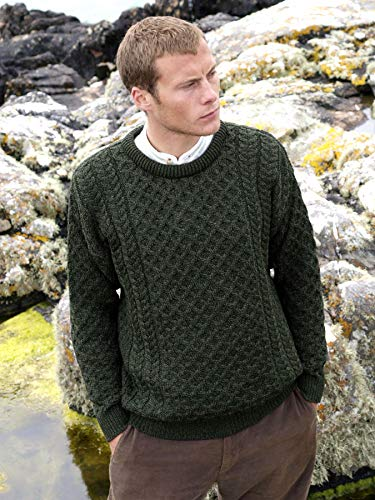 100% Soft Irish Merino Wool Crew Neck Sweater by West End Knitwear,Green,X Large by The Irish Store - Irish Gifts from Ireland