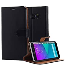 Galaxy S6 Edge+ Case, Pandawell™ PU Leather Wallet Case Magnet Design Flip Stand Cover with Credit Card Holder for Samsung Galaxy S6 Edge Plus (Black)