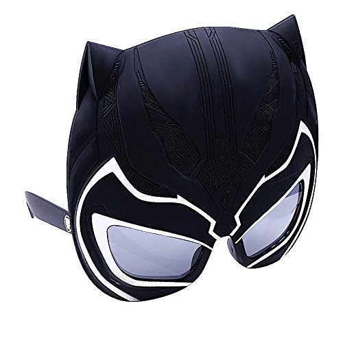 Sunstaches Black Panther Sun-Staches Party Supplies, Black, White, 7