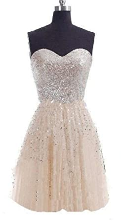 C.X Trendy Womens Sequins Strapless Short Prom Gown Bridesmaid Dress (6, Champagne)