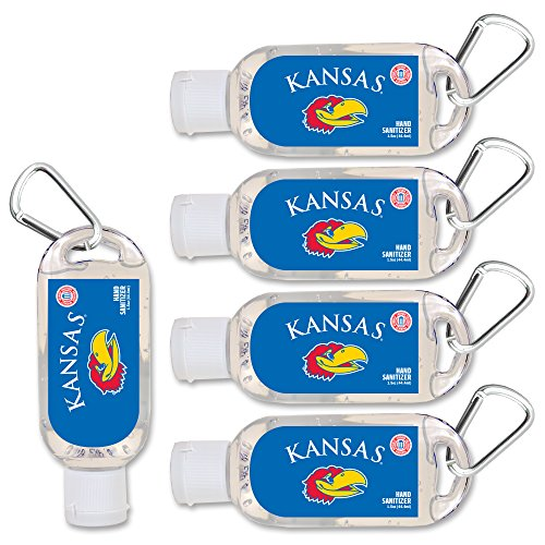 Kansas Robe - NCAA Kansas Jayhawks Hand Sanitizer with Clip, 5-Pack. Moisturizers Aloe Vera and Vitamin E. (1.5 oz Containers) NCAA Gifts for Men and Women, Christmas Stocking Stuffers