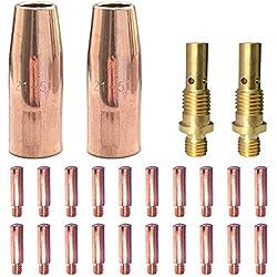 """Mig Welding gun accessory 0.030"""" kit for Lincoln Magnum 100L Tweco Mini/#1 Mig gun: 20pcs Contact Tips 11-30 0.030"""" + 2pcs gas nozzles 21-50 1/2"""" + 2pcs 35-50 welding diffuse"""