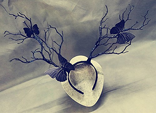 (Qhome Branch Horn Hoop Headband Forest Animal Photography Original Manual Exhibition Cosplay Photo Props Dark Forest Witches Deluxe Costume Horns (Black(Butterfly)))